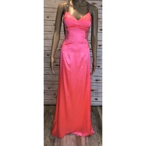 Morgan & Co Coral Sequin Open back Prom Dress